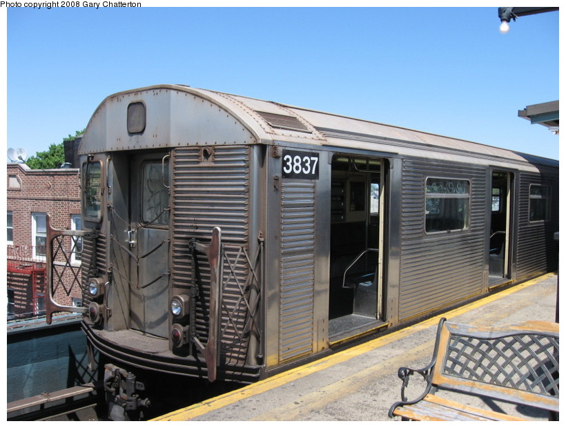 (149k, 820x620)<br><b>Country:</b> United States<br><b>City:</b> New York<br><b>System:</b> New York City Transit<br><b>Line:</b> IND Fulton Street Line<br><b>Location:</b> Lefferts Boulevard <br><b>Route:</b> A<br><b>Car:</b> R-32 (Budd, 1964)  3837 <br><b>Photo by:</b> Gary Chatterton<br><b>Date:</b> 5/28/2008<br><b>Viewed (this week/total):</b> 1 / 1214