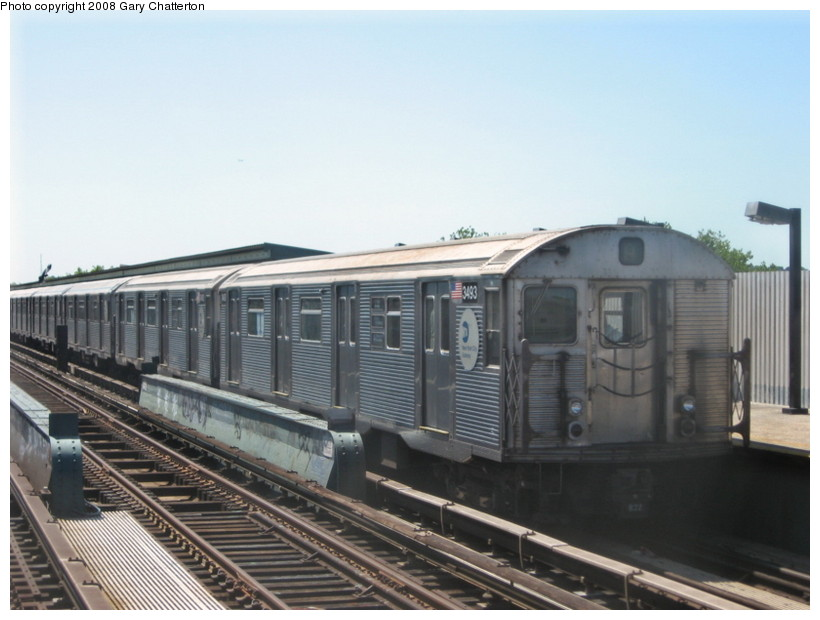 (111k, 820x620)<br><b>Country:</b> United States<br><b>City:</b> New York<br><b>System:</b> New York City Transit<br><b>Line:</b> IND Fulton Street Line<br><b>Location:</b> 88th Street/Boyd Avenue <br><b>Route:</b> A<br><b>Car:</b> R-32 (Budd, 1964)  3493 <br><b>Photo by:</b> Gary Chatterton<br><b>Date:</b> 5/28/2008<br><b>Viewed (this week/total):</b> 0 / 947