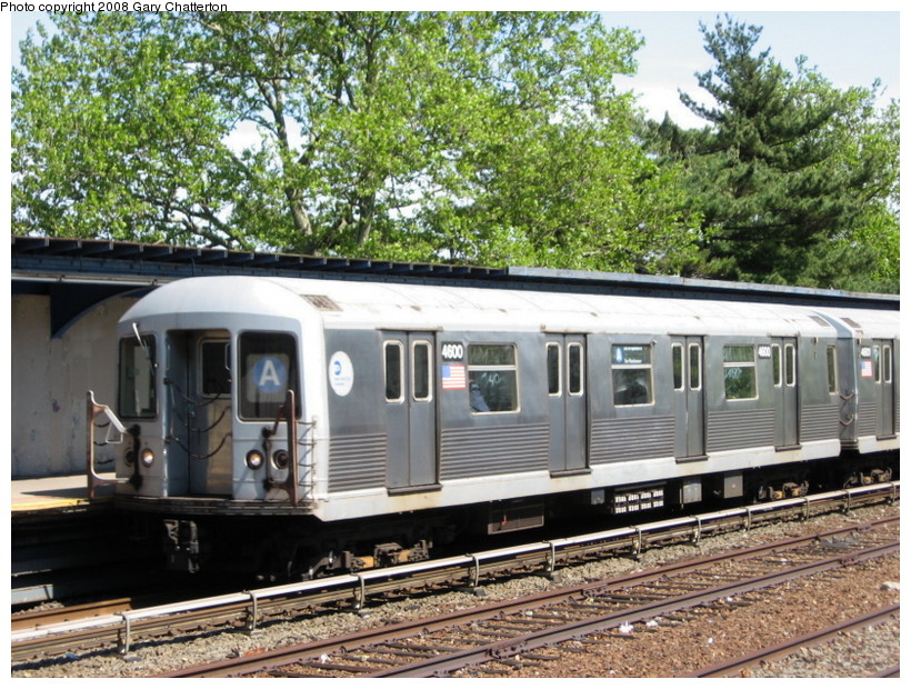 (208k, 820x620)<br><b>Country:</b> United States<br><b>City:</b> New York<br><b>System:</b> New York City Transit<br><b>Line:</b> IND Rockaway<br><b>Location:</b> Aqueduct/North Conduit Avenue <br><b>Route:</b> A<br><b>Car:</b> R-42 (St. Louis, 1969-1970)  4600 <br><b>Photo by:</b> Gary Chatterton<br><b>Date:</b> 5/28/2008<br><b>Viewed (this week/total):</b> 1 / 1357