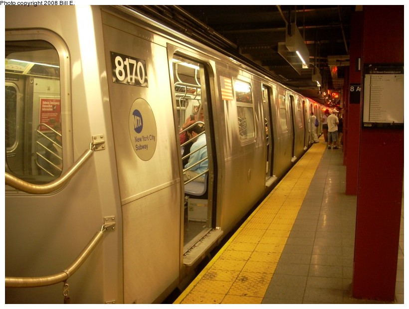 (152k, 820x620)<br><b>Country:</b> United States<br><b>City:</b> New York<br><b>System:</b> New York City Transit<br><b>Line:</b> BMT Canarsie Line<br><b>Location:</b> 8th Avenue <br><b>Route:</b> L<br><b>Car:</b> R-143 (Kawasaki, 2001-2002) 8170 <br><b>Photo by:</b> Bill E.<br><b>Date:</b> 6/1/2008<br><b>Viewed (this week/total):</b> 0 / 1664