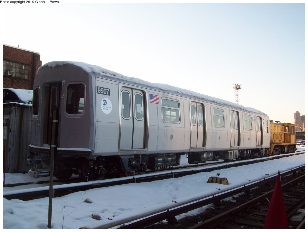 (158k, 1044x788)<br><b>Country:</b> United States<br><b>City:</b> New York<br><b>System:</b> New York City Transit<br><b>Location:</b> 207th Street Yard<br><b>Car:</b> R-160B (Option 2) (Kawasaki, 2009)  9907 <br><b>Photo by:</b> Glenn L. Rowe<br><b>Date:</b> 2/17/2010<br><b>Viewed (this week/total):</b> 0 / 1118