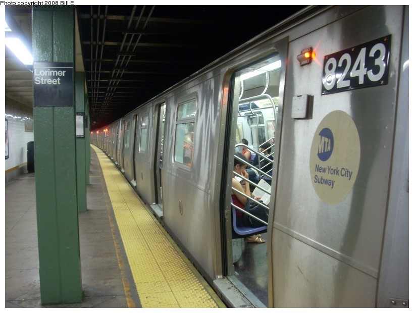 (146k, 820x620)<br><b>Country:</b> United States<br><b>City:</b> New York<br><b>System:</b> New York City Transit<br><b>Line:</b> BMT Canarsie Line<br><b>Location:</b> Lorimer Street <br><b>Route:</b> L<br><b>Car:</b> R-143 (Kawasaki, 2001-2002) 8243 <br><b>Photo by:</b> Bill E.<br><b>Date:</b> 6/1/2008<br><b>Viewed (this week/total):</b> 1 / 1536