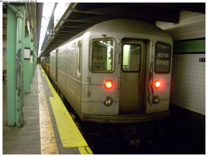(147k, 820x620)<br><b>Country:</b> United States<br><b>City:</b> New York<br><b>System:</b> New York City Transit<br><b>Line:</b> IND Queens Boulevard Line<br><b>Location:</b> 71st/Continental Aves./Forest Hills <br><b>Route:</b> Work Service<br><b>Car:</b> R-127/R-134 (Kawasaki, 1991-1996) EP006 <br><b>Photo by:</b> Bill E.<br><b>Date:</b> 5/30/2008<br><b>Viewed (this week/total):</b> 3 / 1406