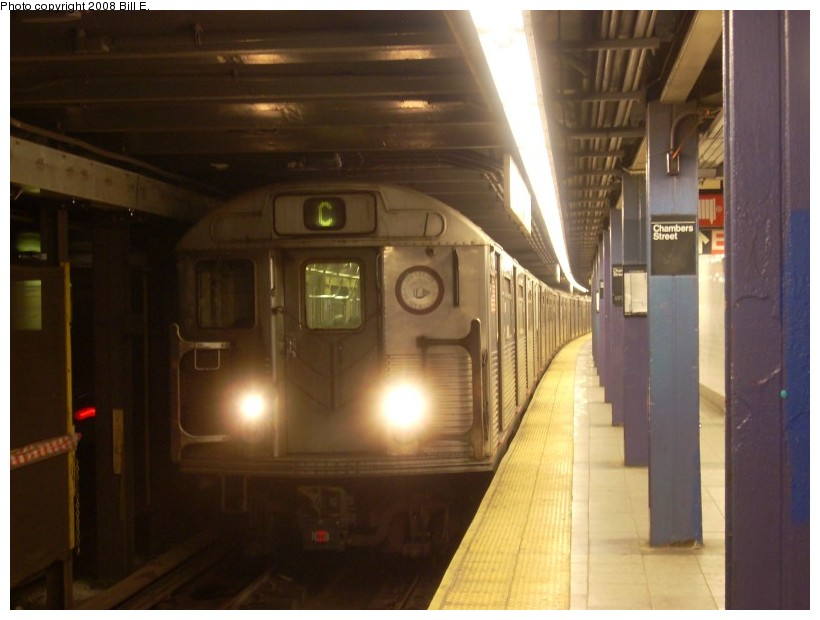(131k, 820x620)<br><b>Country:</b> United States<br><b>City:</b> New York<br><b>System:</b> New York City Transit<br><b>Line:</b> IND 8th Avenue Line<br><b>Location:</b> Chambers Street/World Trade Center <br><b>Route:</b> C<br><b>Car:</b> R-38 (St. Louis, 1966-1967)   <br><b>Photo by:</b> Bill E.<br><b>Date:</b> 5/31/2008<br><b>Viewed (this week/total):</b> 2 / 1282