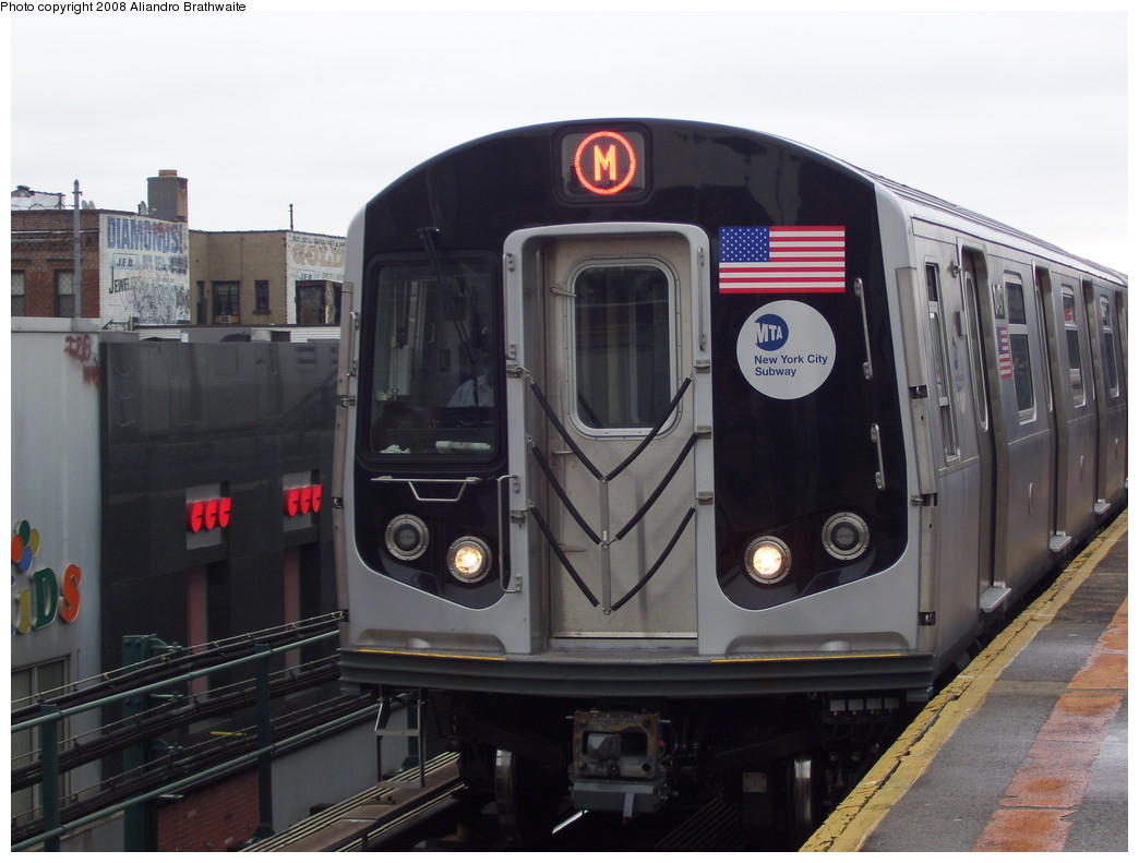 (190k, 1044x791)<br><b>Country:</b> United States<br><b>City:</b> New York<br><b>System:</b> New York City Transit<br><b>Line:</b> BMT West End Line<br><b>Location:</b> Bay Parkway <br><b>Route:</b> M<br><b>Car:</b> R-160A-1 (Alstom, 2005-2008, 4 car sets)  8497 <br><b>Photo by:</b> Aliandro Brathwaite<br><b>Date:</b> 6/5/2008<br><b>Viewed (this week/total):</b> 3 / 2171