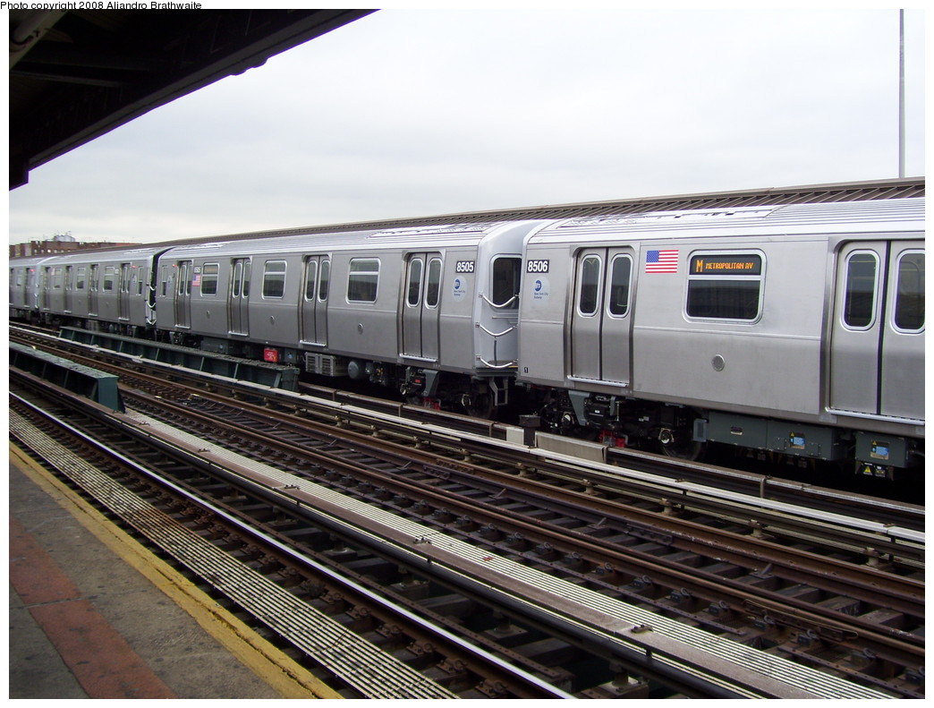 (243k, 1044x791)<br><b>Country:</b> United States<br><b>City:</b> New York<br><b>System:</b> New York City Transit<br><b>Line:</b> BMT West End Line<br><b>Location:</b> 20th Avenue <br><b>Route:</b> M<br><b>Car:</b> R-160A-1 (Alstom, 2005-2008, 4 car sets)  8506 <br><b>Photo by:</b> Aliandro Brathwaite<br><b>Date:</b> 6/5/2008<br><b>Viewed (this week/total):</b> 1 / 1729