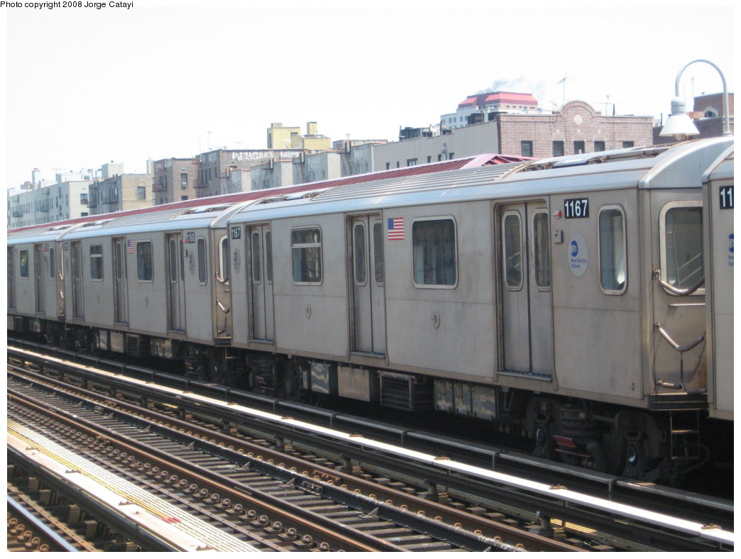 (202k, 1044x788)<br><b>Country:</b> United States<br><b>City:</b> New York<br><b>System:</b> New York City Transit<br><b>Line:</b> IRT Woodlawn Line<br><b>Location:</b> 170th Street <br><b>Route:</b> 4<br><b>Car:</b> R-142 (Option Order, Bombardier, 2002-2003)  1167 <br><b>Photo by:</b> Jorge Catayi<br><b>Date:</b> 6/9/2008<br><b>Viewed (this week/total):</b> 0 / 1550