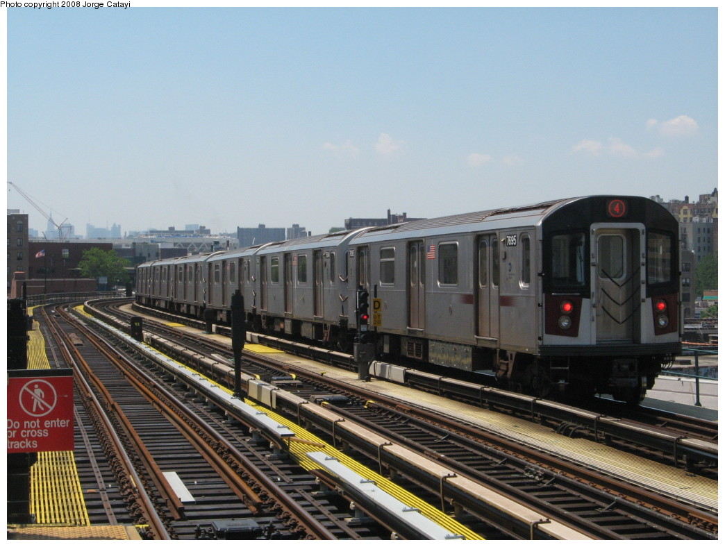 (215k, 1044x788)<br><b>Country:</b> United States<br><b>City:</b> New York<br><b>System:</b> New York City Transit<br><b>Line:</b> IRT Woodlawn Line<br><b>Location:</b> 170th Street <br><b>Route:</b> 4<br><b>Car:</b> R-142A (Option Order, Kawasaki, 2002-2003)  7695 <br><b>Photo by:</b> Jorge Catayi<br><b>Date:</b> 6/9/2008<br><b>Viewed (this week/total):</b> 3 / 1543