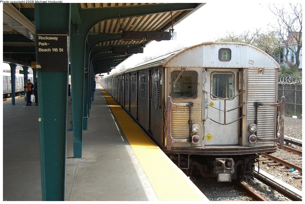 (244k, 1044x699)<br><b>Country:</b> United States<br><b>City:</b> New York<br><b>System:</b> New York City Transit<br><b>Line:</b> IND Rockaway<br><b>Location:</b> Rockaway Park/Beach 116th Street <br><b>Route:</b> A<br><b>Car:</b> R-32 (Budd, 1964)  3912 <br><b>Photo by:</b> Michael Hodurski<br><b>Date:</b> 5/3/2008<br><b>Viewed (this week/total):</b> 0 / 1628