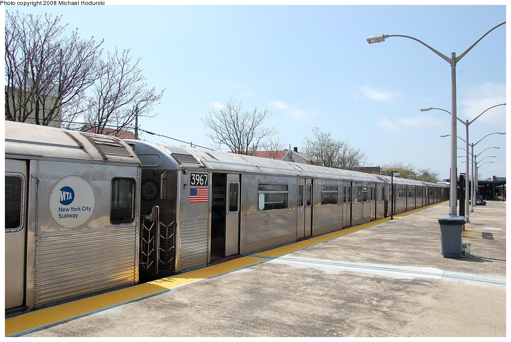 (262k, 1044x699)<br><b>Country:</b> United States<br><b>City:</b> New York<br><b>System:</b> New York City Transit<br><b>Line:</b> IND Rockaway<br><b>Location:</b> Rockaway Park/Beach 116th Street <br><b>Route:</b> A<br><b>Car:</b> R-38 (St. Louis, 1966-1967)  3967 <br><b>Photo by:</b> Michael Hodurski<br><b>Date:</b> 5/3/2008<br><b>Viewed (this week/total):</b> 5 / 1003