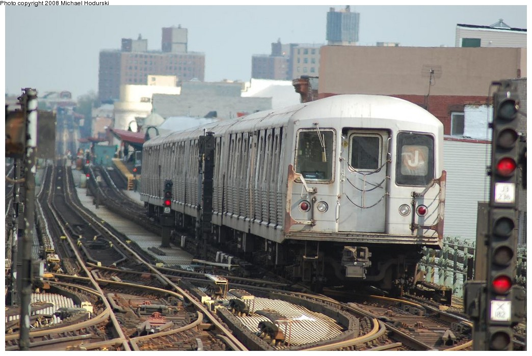 (224k, 1044x699)<br><b>Country:</b> United States<br><b>City:</b> New York<br><b>System:</b> New York City Transit<br><b>Line:</b> BMT Nassau Street/Jamaica Line<br><b>Location:</b> Myrtle Avenue <br><b>Route:</b> J<br><b>Car:</b> R-42 (St. Louis, 1969-1970)  4587 <br><b>Photo by:</b> Michael Hodurski<br><b>Date:</b> 5/3/2008<br><b>Viewed (this week/total):</b> 1 / 2005
