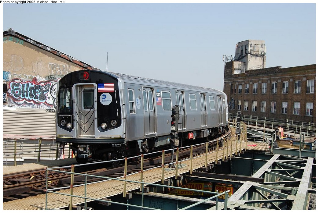 (262k, 1044x699)<br><b>Country:</b> United States<br><b>City:</b> New York<br><b>System:</b> New York City Transit<br><b>Line:</b> BMT Myrtle Avenue Line<br><b>Location:</b> Wyckoff Avenue <br><b>Route:</b> M<br><b>Car:</b> R-160A-1 (Alstom, 2005-2008, 4 car sets)  8381 <br><b>Photo by:</b> Michael Hodurski<br><b>Date:</b> 4/18/2008<br><b>Viewed (this week/total):</b> 4 / 1713