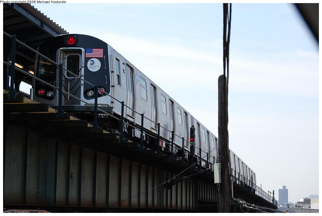 (177k, 1044x699)<br><b>Country:</b> United States<br><b>City:</b> New York<br><b>System:</b> New York City Transit<br><b>Line:</b> BMT Myrtle Avenue Line<br><b>Location:</b> Wyckoff Avenue <br><b>Route:</b> M<br><b>Car:</b> R-160A-1 (Alstom, 2005-2008, 4 car sets)  8405 <br><b>Photo by:</b> Michael Hodurski<br><b>Date:</b> 4/18/2008<br><b>Viewed (this week/total):</b> 0 / 1575