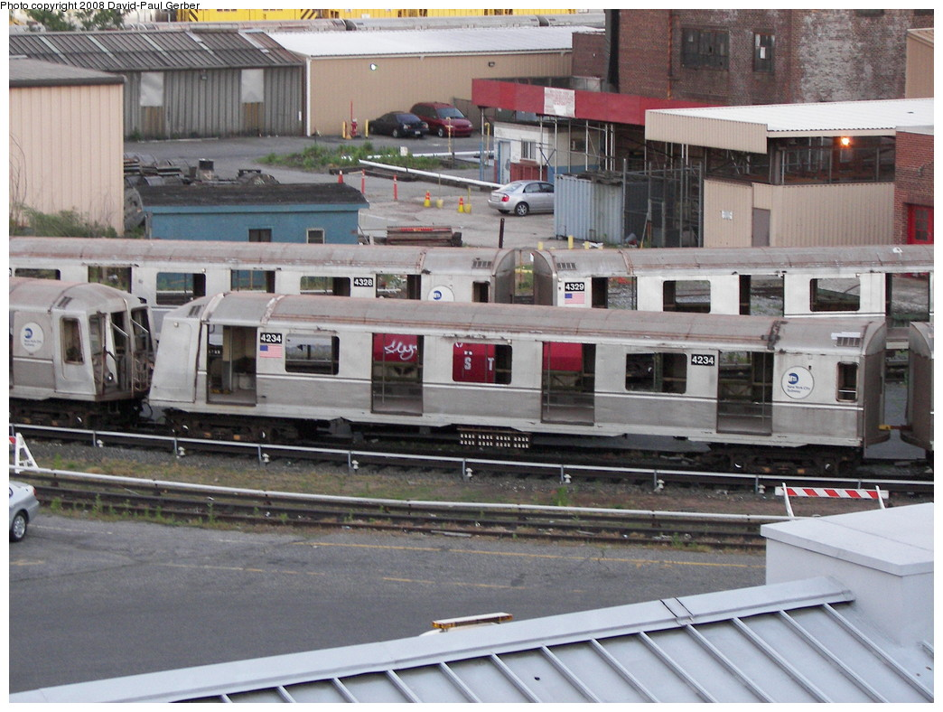 (294k, 1044x788)<br><b>Country:</b> United States<br><b>City:</b> New York<br><b>System:</b> New York City Transit<br><b>Location:</b> 207th Street Yard<br><b>Car:</b> R-40 (St. Louis, 1968)  4234 <br><b>Photo by:</b> David-Paul Gerber<br><b>Date:</b> 6/12/2008<br><b>Notes:</b> Scrap<br><b>Viewed (this week/total):</b> 3 / 721