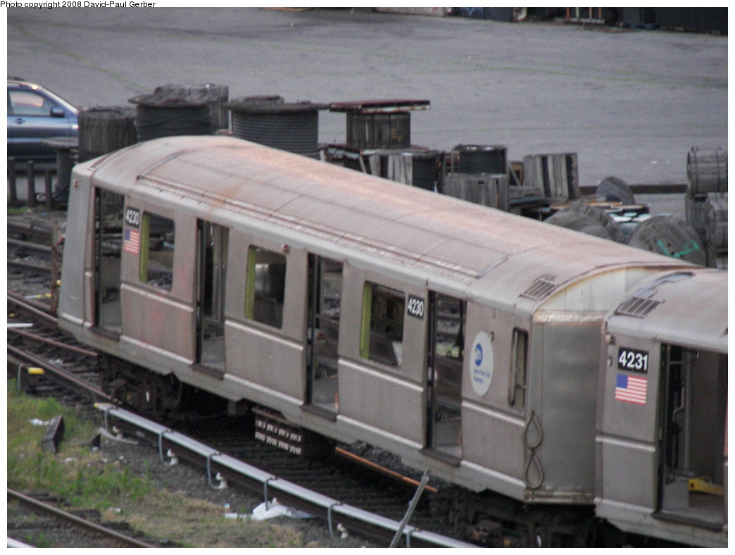 (240k, 1044x788)<br><b>Country:</b> United States<br><b>City:</b> New York<br><b>System:</b> New York City Transit<br><b>Location:</b> 207th Street Yard<br><b>Car:</b> R-40 (St. Louis, 1968)  4230 <br><b>Photo by:</b> David-Paul Gerber<br><b>Date:</b> 6/12/2008<br><b>Notes:</b> Scrap<br><b>Viewed (this week/total):</b> 0 / 1171