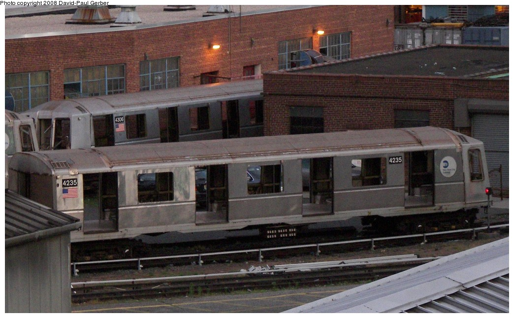(184k, 1044x646)<br><b>Country:</b> United States<br><b>City:</b> New York<br><b>System:</b> New York City Transit<br><b>Location:</b> 207th Street Yard<br><b>Car:</b> R-40 (St. Louis, 1968)  4235/4306 <br><b>Photo by:</b> David-Paul Gerber<br><b>Date:</b> 6/12/2008<br><b>Notes:</b> Scrap<br><b>Viewed (this week/total):</b> 0 / 1476