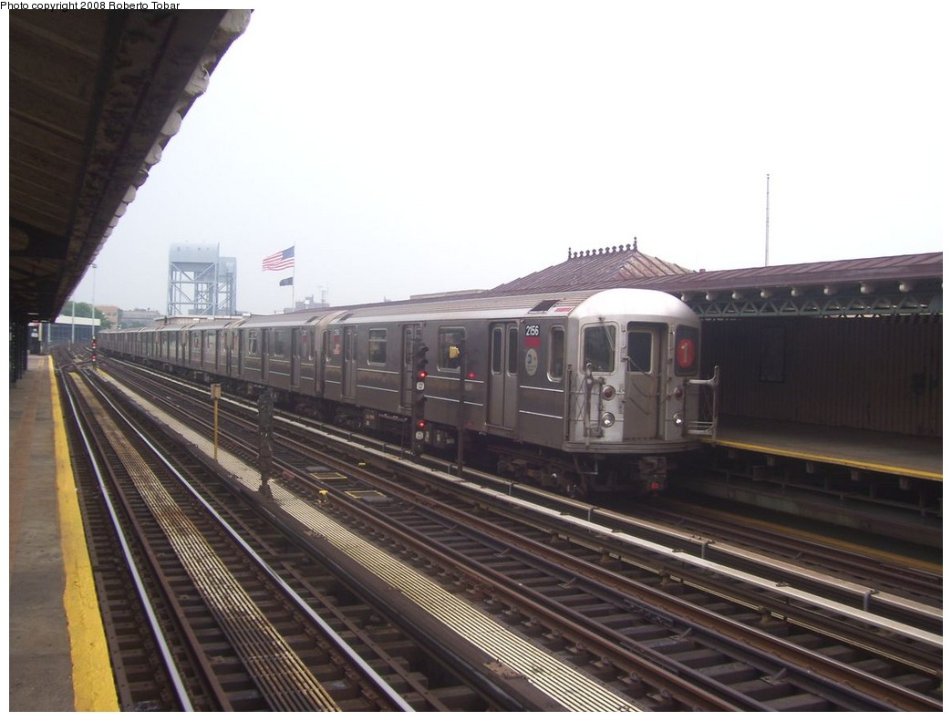 (177k, 1044x791)<br><b>Country:</b> United States<br><b>City:</b> New York<br><b>System:</b> New York City Transit<br><b>Line:</b> IRT West Side Line<br><b>Location:</b> 215th Street <br><b>Route:</b> 1<br><b>Car:</b> R-62A (Bombardier, 1984-1987)  2156 <br><b>Photo by:</b> Roberto C. Tobar<br><b>Date:</b> 6/14/2008<br><b>Viewed (this week/total):</b> 1 / 1058