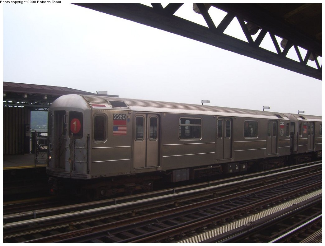 (154k, 1044x791)<br><b>Country:</b> United States<br><b>City:</b> New York<br><b>System:</b> New York City Transit<br><b>Line:</b> IRT West Side Line<br><b>Location:</b> 215th Street <br><b>Route:</b> 1<br><b>Car:</b> R-62A (Bombardier, 1984-1987)  2260 <br><b>Photo by:</b> Roberto C. Tobar<br><b>Date:</b> 6/14/2008<br><b>Viewed (this week/total):</b> 2 / 1156