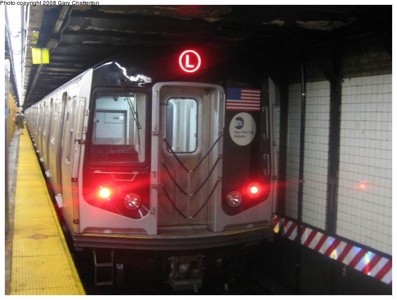 (112k, 820x620)<br><b>Country:</b> United States<br><b>City:</b> New York<br><b>System:</b> New York City Transit<br><b>Line:</b> BMT Canarsie Line<br><b>Location:</b> 6th Avenue <br><b>Route:</b> L<br><b>Car:</b> R-160A-1 (Alstom, 2005-2008, 4 car sets)  8332 <br><b>Photo by:</b> Gary Chatterton<br><b>Date:</b> 6/12/2008<br><b>Viewed (this week/total):</b> 2 / 1411
