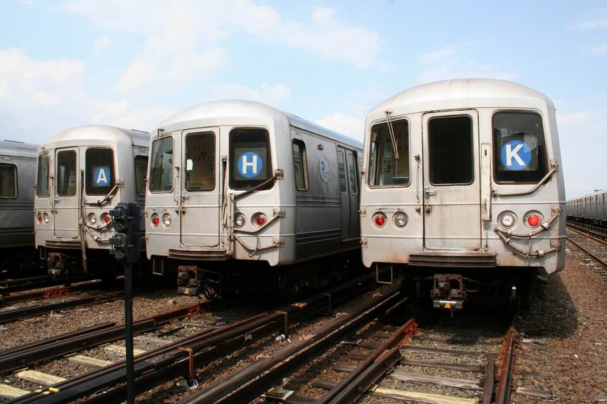 (98k, 864x576)<br><b>Country:</b> United States<br><b>City:</b> New York<br><b>System:</b> New York City Transit<br><b>Location:</b> Rockaway Park Yard<br><b>Car:</b> R-44 (St. Louis, 1971-73)  <br><b>Photo by:</b> Bill Demo<br><b>Date:</b> 6/16/2008<br><b>Notes:</b> Notice roll signs set to various routes that formerly served the Rockaways.<br><b>Viewed (this week/total):</b> 0 / 4643