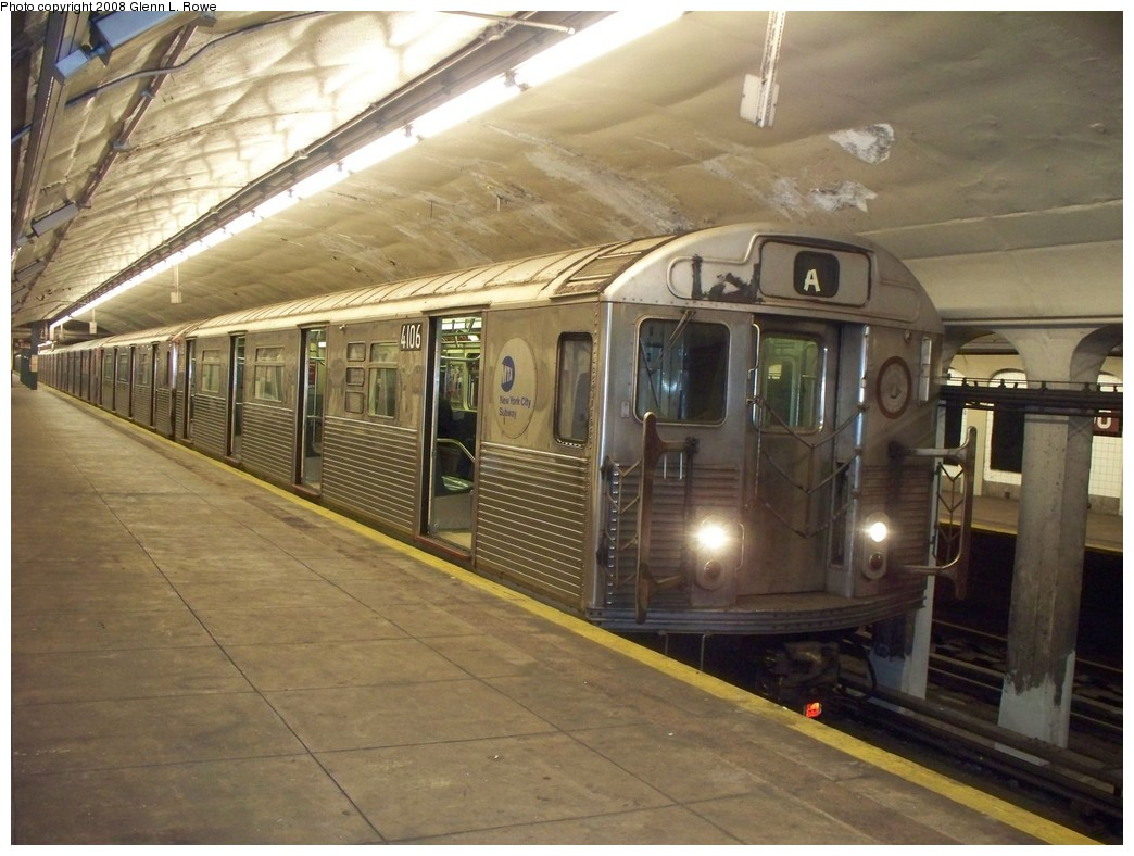 (214k, 1044x788)<br><b>Country:</b> United States<br><b>City:</b> New York<br><b>System:</b> New York City Transit<br><b>Line:</b> IND 8th Avenue Line<br><b>Location:</b> 190th Street/Overlook Terrace <br><b>Route:</b> A<br><b>Car:</b> R-38 (St. Louis, 1966-1967)  4106 <br><b>Photo by:</b> Glenn L. Rowe<br><b>Date:</b> 6/17/2008<br><b>Viewed (this week/total):</b> 5 / 2234