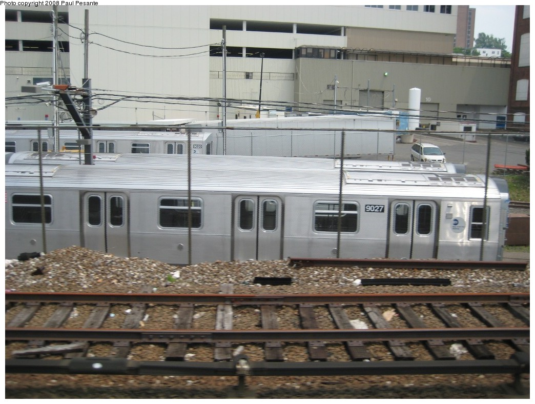 (212k, 1044x788)<br><b>Country:</b> United States<br><b>City:</b> New York<br><b>System:</b> New York City Transit<br><b>Location:</b> Kawasaki Plant, Yonkers, NY<br><b>Car:</b> R-160B (Option 1) (Kawasaki, 2008-2009)  9027 <br><b>Photo by:</b> Paul Pesante<br><b>Date:</b> 6/14/2008<br><b>Viewed (this week/total):</b> 1 / 1015