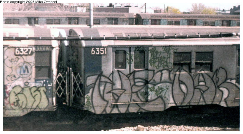 (148k, 820x455)<br><b>Country:</b> United States<br><b>City:</b> New York<br><b>System:</b> New York City Transit<br><b>Location:</b> Rockaway Parkway (Canarsie) Yard<br><b>Car:</b> R-16 (American Car & Foundry, 1955) 6351 <br><b>Photo by:</b> Mike Ormond<br><b>Date:</b> 1981<br><b>Viewed (this week/total):</b> 4 / 2095