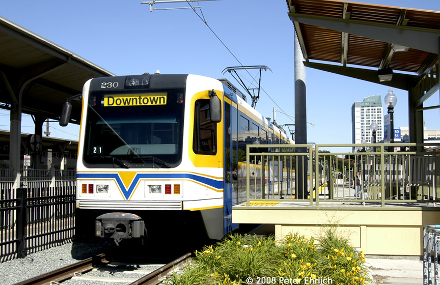 (222k, 864x560)<br><b>Country:</b> United States<br><b>City:</b> Sacramento, CA<br><b>System:</b> SACRT Light Rail<br><b>Location:</b> Sacramento Valley Station (Amtrak) <br><b>Car:</b> Sacramento CAF LRV  230 <br><b>Photo by:</b> Peter Ehrlich<br><b>Date:</b> 5/16/2008<br><b>Viewed (this week/total):</b> 0 / 346