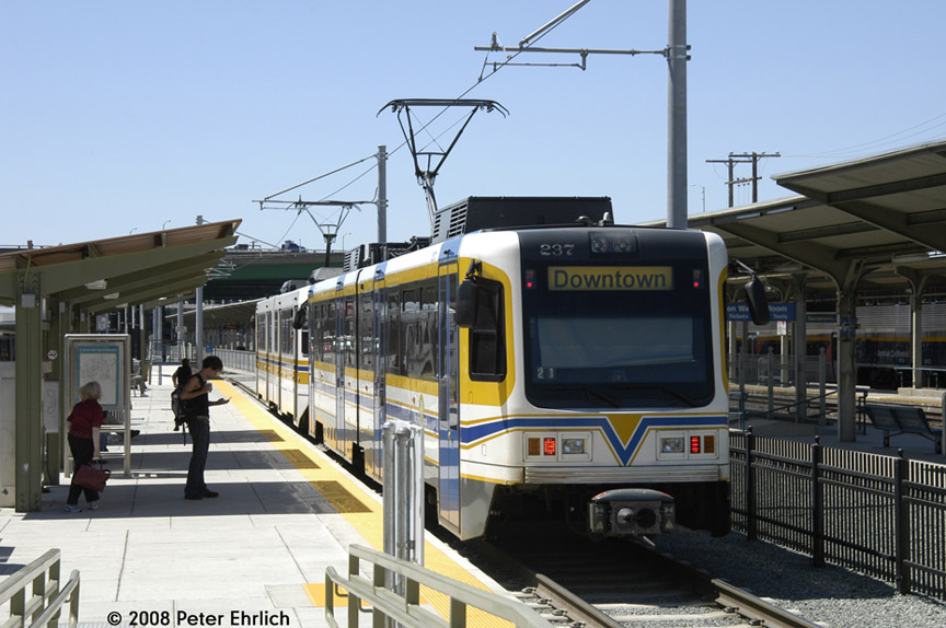 (176k, 864x574)<br><b>Country:</b> United States<br><b>City:</b> Sacramento, CA<br><b>System:</b> SACRT Light Rail<br><b>Location:</b> Sacramento Valley Station (Amtrak) <br><b>Car:</b> Sacramento CAF LRV  237 <br><b>Photo by:</b> Peter Ehrlich<br><b>Date:</b> 5/16/2008<br><b>Viewed (this week/total):</b> 1 / 434