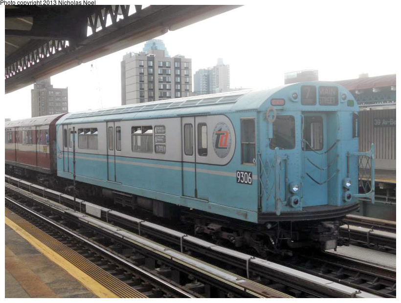 (198k, 820x620)<br><b>Country:</b> United States<br><b>City:</b> New York<br><b>System:</b> New York City Transit<br><b>Line:</b> BMT Astoria Line<br><b>Location:</b> 39th/Beebe Aves. <br><b>Route:</b> Museum Train Service<br><b>Car:</b> R-33 World's Fair (St. Louis, 1963-64) 9306 <br><b>Photo by:</b> Nicholas Noel<br><b>Date:</b> 12/19/2013<br><b>Notes:</b> Yard move from Flushing Line<br><b>Viewed (this week/total):</b> 2 / 407