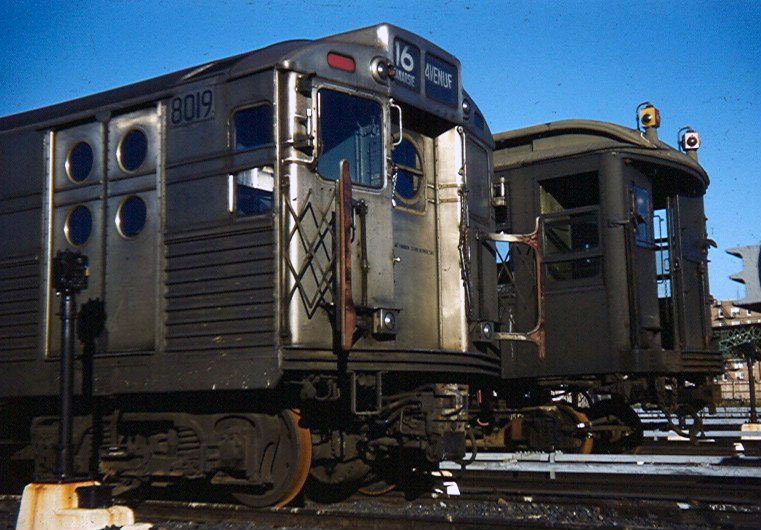 (155k, 761x530)<br><b>Country:</b> United States<br><b>City:</b> New York<br><b>System:</b> New York City Transit<br><b>Location:</b> Coney Island Yard<br><b>Car:</b> R-11 (Budd, 1949) 8019 <br><b>Photo by:</b> Brian J. Cudahy<br><b>Notes:</b> Circa 1956. R-11 units prior to their reconfiguration into R-34s, along with Q units recently rendered surplus with the abandonment of the Third Avenue El.<br><b>Viewed (this week/total):</b> 2 / 2206