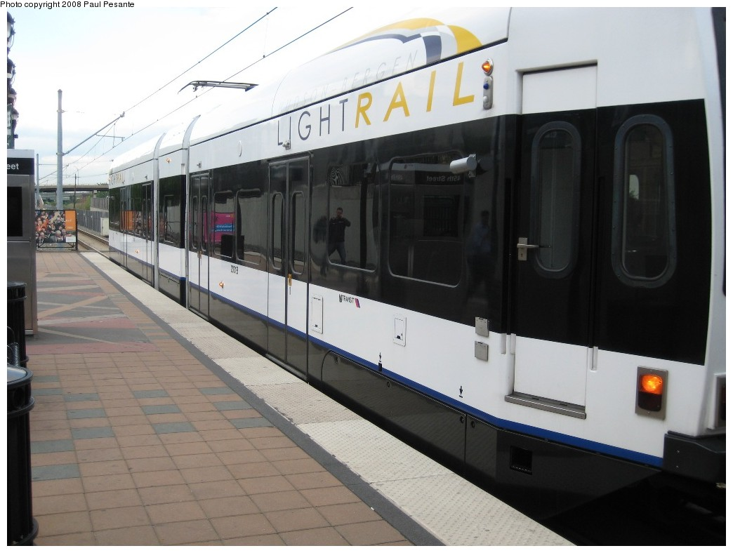 (159k, 1044x788)<br><b>Country:</b> United States<br><b>City:</b> Bayonne, NJ<br><b>System:</b> Hudson Bergen Light Rail<br><b>Location:</b> East 45th Street <br><b>Car:</b> NJT-HBLR LRV (Kinki-Sharyo, 1998-99)  20x3 <br><b>Photo by:</b> Paul Pesante<br><b>Date:</b> 6/19/2008<br><b>Viewed (this week/total):</b> 4 / 504