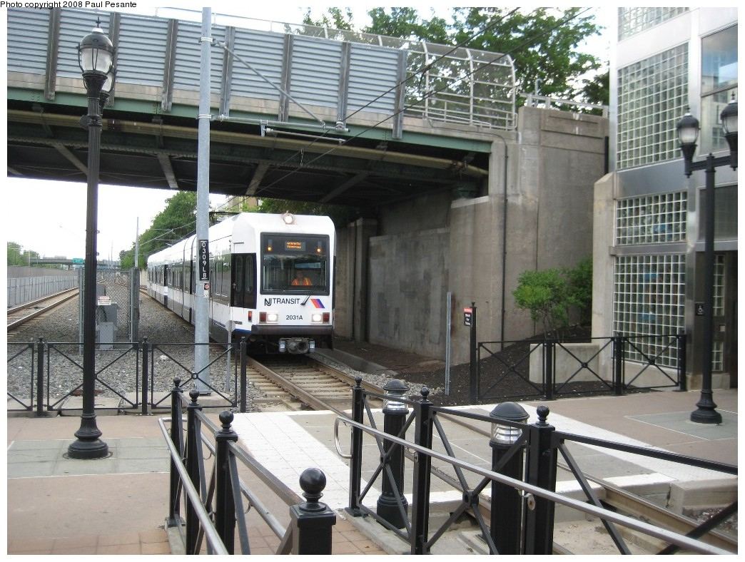 (257k, 1044x788)<br><b>Country:</b> United States<br><b>City:</b> Bayonne, NJ<br><b>System:</b> Hudson Bergen Light Rail<br><b>Location:</b> East 45th Street <br><b>Car:</b> NJT-HBLR LRV (Kinki-Sharyo, 1998-99)  2031 <br><b>Photo by:</b> Paul Pesante<br><b>Date:</b> 6/19/2008<br><b>Notes:</b> Hoboken train running wrong rail.<br><b>Viewed (this week/total):</b> 1 / 687