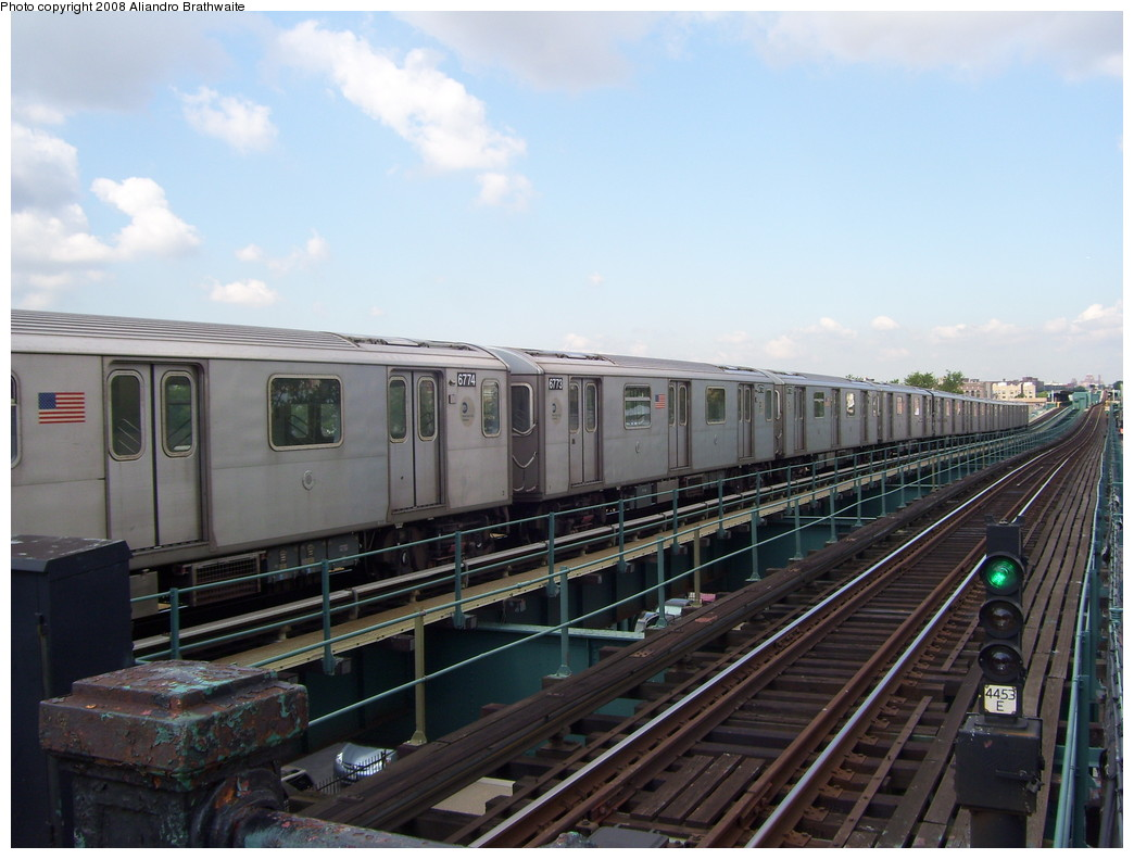 (202k, 1044x791)<br><b>Country:</b> United States<br><b>City:</b> New York<br><b>System:</b> New York City Transit<br><b>Line:</b> IRT Brooklyn Line<br><b>Location:</b> Van Siclen Avenue <br><b>Car:</b> R-142 (Primary Order, Bombardier, 1999-2002)  6774 <br><b>Photo by:</b> Aliandro Brathwaite<br><b>Date:</b> 6/19/2008<br><b>Viewed (this week/total):</b> 7 / 1926