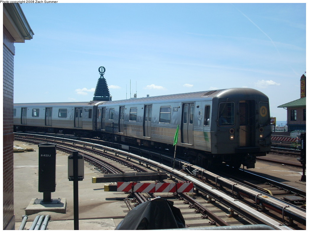 (235k, 1044x788)<br><b>Country:</b> United States<br><b>City:</b> New York<br><b>System:</b> New York City Transit<br><b>Location:</b> Coney Island/Stillwell Avenue<br><b>Route:</b> Q<br><b>Car:</b> R-68A (Kawasaki, 1988-1989)  5160 <br><b>Photo by:</b> Zach Summer<br><b>Date:</b> 6/25/2008<br><b>Viewed (this week/total):</b> 2 / 1261