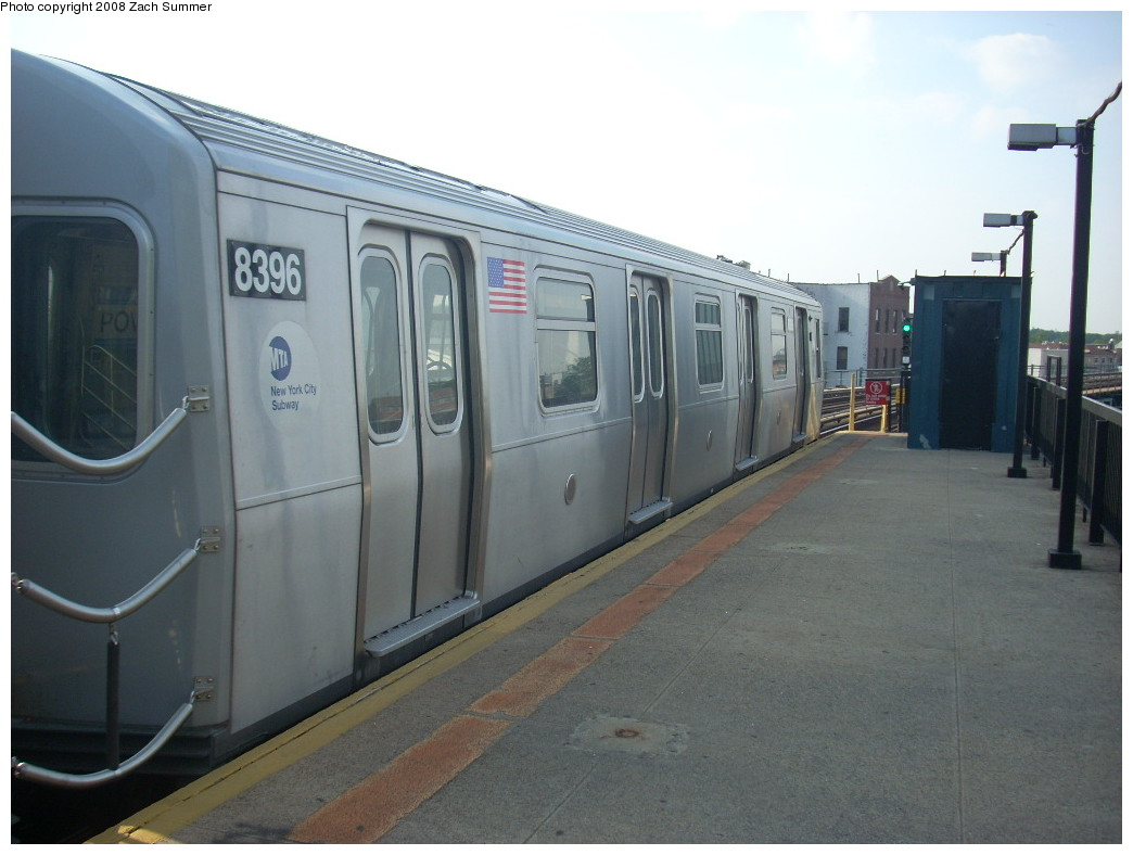 (201k, 1044x788)<br><b>Country:</b> United States<br><b>City:</b> New York<br><b>System:</b> New York City Transit<br><b>Line:</b> BMT West End Line<br><b>Location:</b> 18th Avenue <br><b>Route:</b> M<br><b>Car:</b> R-160A-1 (Alstom, 2005-2008, 4 car sets)  8396 <br><b>Photo by:</b> Zach Summer<br><b>Date:</b> 6/26/2008<br><b>Viewed (this week/total):</b> 1 / 865