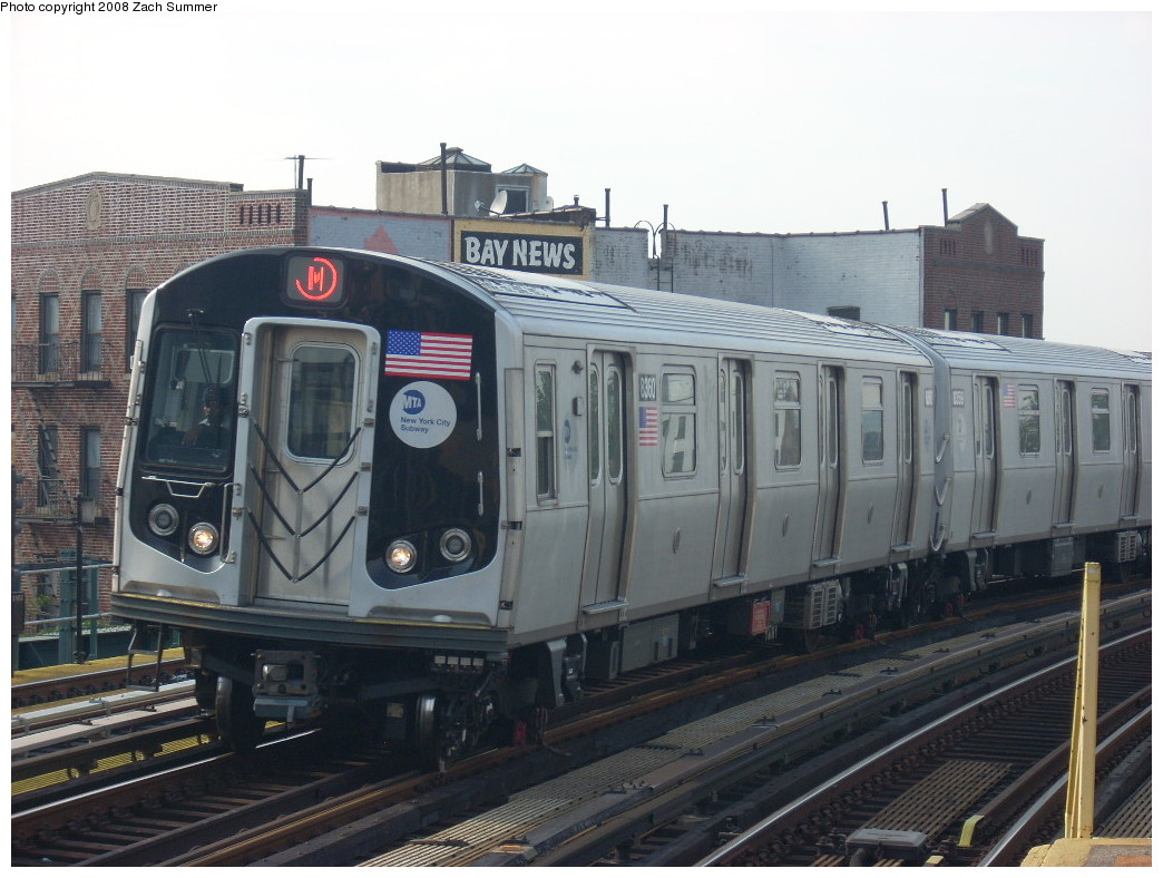 (238k, 1044x788)<br><b>Country:</b> United States<br><b>City:</b> New York<br><b>System:</b> New York City Transit<br><b>Line:</b> BMT West End Line<br><b>Location:</b> 18th Avenue <br><b>Route:</b> M<br><b>Car:</b> R-160A-1 (Alstom, 2005-2008, 4 car sets)  8360 <br><b>Photo by:</b> Zach Summer<br><b>Date:</b> 6/26/2008<br><b>Viewed (this week/total):</b> 2 / 1058