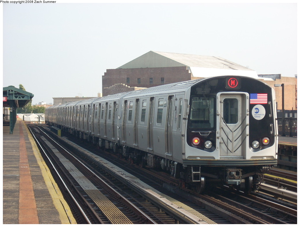 (237k, 1044x788)<br><b>Country:</b> United States<br><b>City:</b> New York<br><b>System:</b> New York City Transit<br><b>Line:</b> BMT West End Line<br><b>Location:</b> 18th Avenue <br><b>Route:</b> M<br><b>Car:</b> R-160A-1 (Alstom, 2005-2008, 4 car sets)  8321 <br><b>Photo by:</b> Zach Summer<br><b>Date:</b> 6/26/2008<br><b>Viewed (this week/total):</b> 1 / 1536