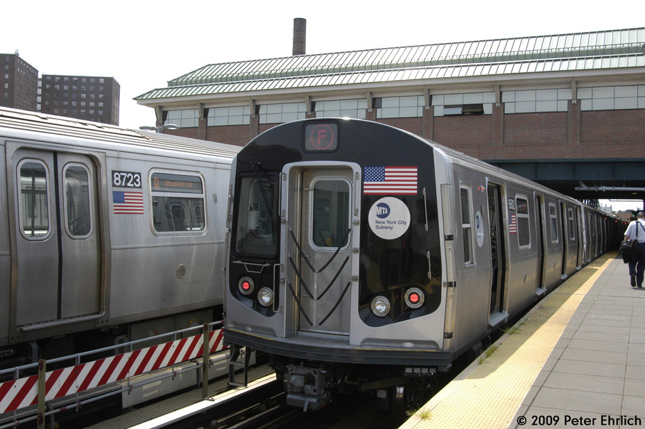 (205k, 930x618)<br><b>Country:</b> United States<br><b>City:</b> New York<br><b>System:</b> New York City Transit<br><b>Location:</b> Coney Island/Stillwell Avenue<br><b>Car:</b> R-160B (Kawasaki, 2005-2008)  8723 <br><b>Photo by:</b> Peter Ehrlich<br><b>Date:</b> 7/22/2009<br><b>Notes:</b> 8723 is on the Q line, 9502 on the F Line.<br><b>Viewed (this week/total):</b> 3 / 649