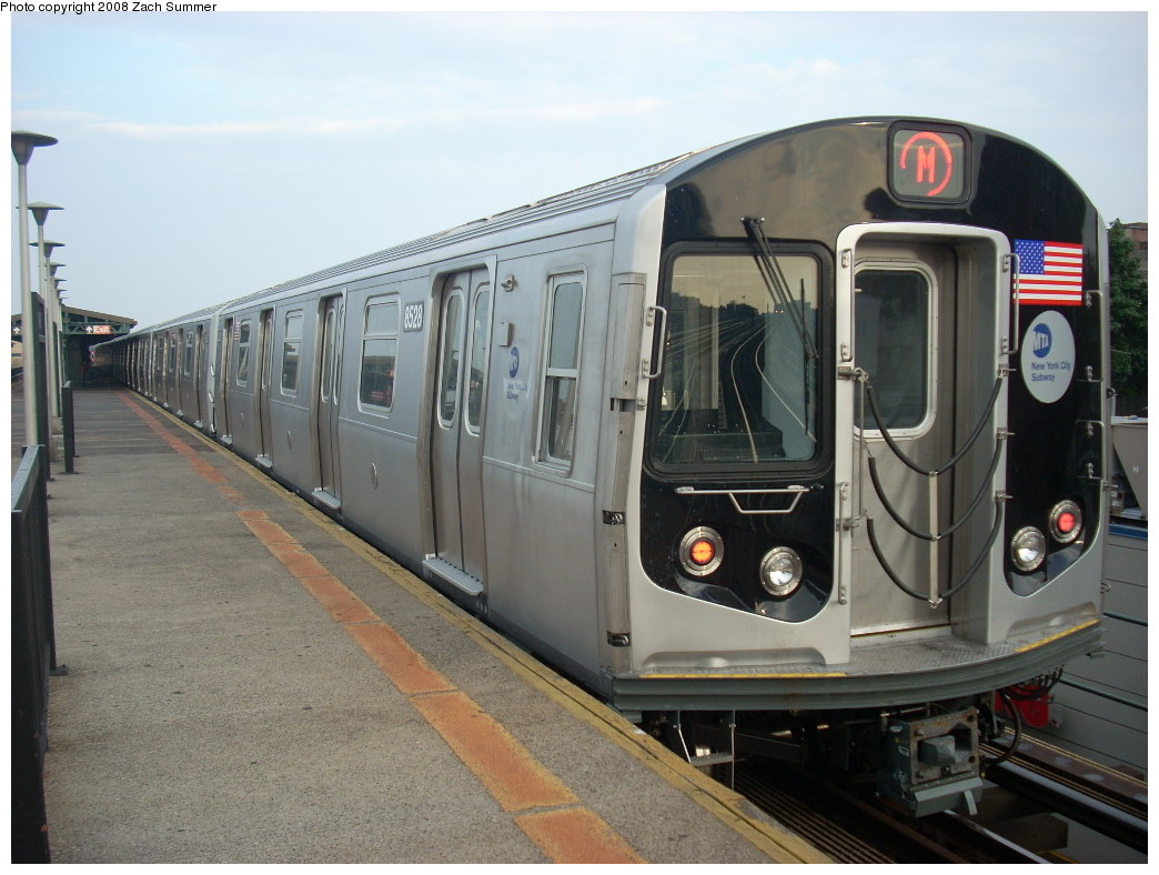 (238k, 1044x788)<br><b>Country:</b> United States<br><b>City:</b> New York<br><b>System:</b> New York City Transit<br><b>Line:</b> BMT West End Line<br><b>Location:</b> Bay Parkway <br><b>Route:</b> M<br><b>Car:</b> R-160A-1 (Alstom, 2005-2008, 4 car sets)  8528 <br><b>Photo by:</b> Zach Summer<br><b>Date:</b> 6/26/2008<br><b>Viewed (this week/total):</b> 0 / 1666
