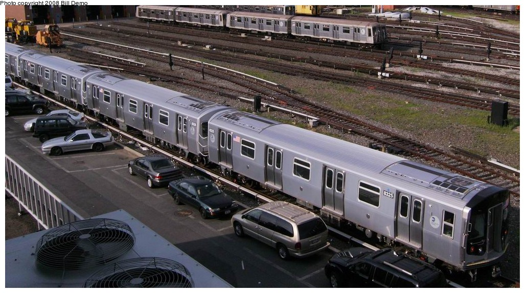 (207k, 1027x575)<br><b>Country:</b> United States<br><b>City:</b> New York<br><b>System:</b> New York City Transit<br><b>Location:</b> Coney Island Yard<br><b>Car:</b> R-160A-1 (Alstom, 2005-2008, 4 car sets)  8325 <br><b>Photo by:</b> Bill Demo<br><b>Date:</b> 7/1/2008<br><b>Viewed (this week/total):</b> 1 / 1873