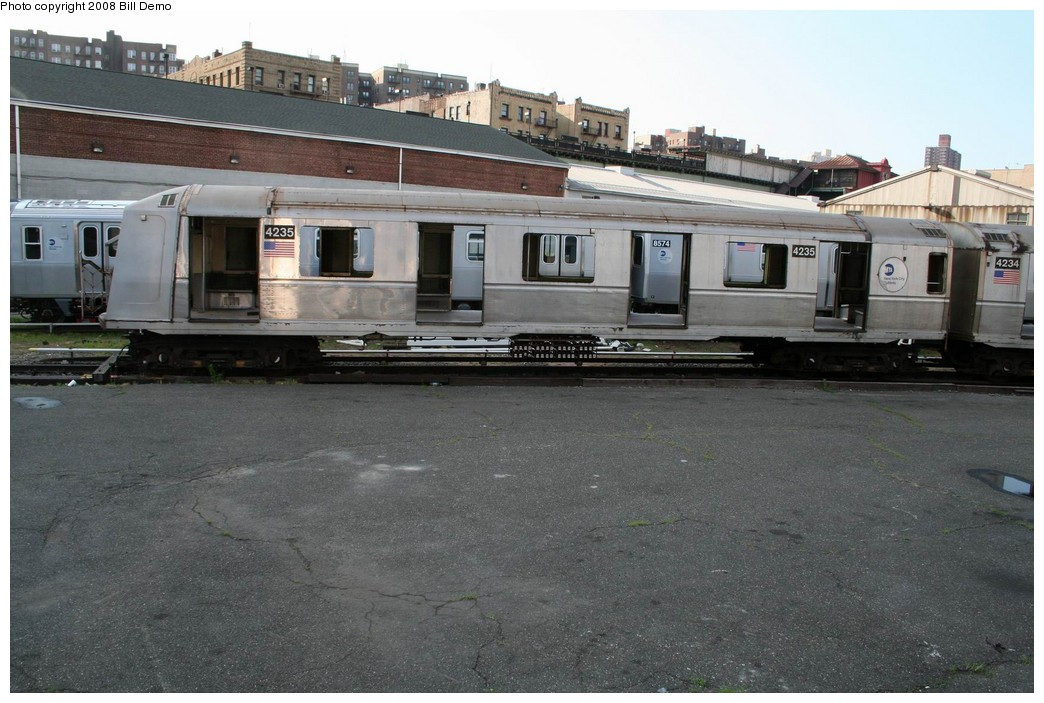 (201k, 1044x703)<br><b>Country:</b> United States<br><b>City:</b> New York<br><b>System:</b> New York City Transit<br><b>Location:</b> 207th Street Yard<br><b>Car:</b> R-40 (St. Louis, 1968)  4235 <br><b>Photo by:</b> Pete Monty<br><b>Collection of:</b> Bill Demo<br><b>Date:</b> 6/16/2008<br><b>Notes:</b> Being stripped for scrapping.<br><b>Viewed (this week/total):</b> 0 / 1296