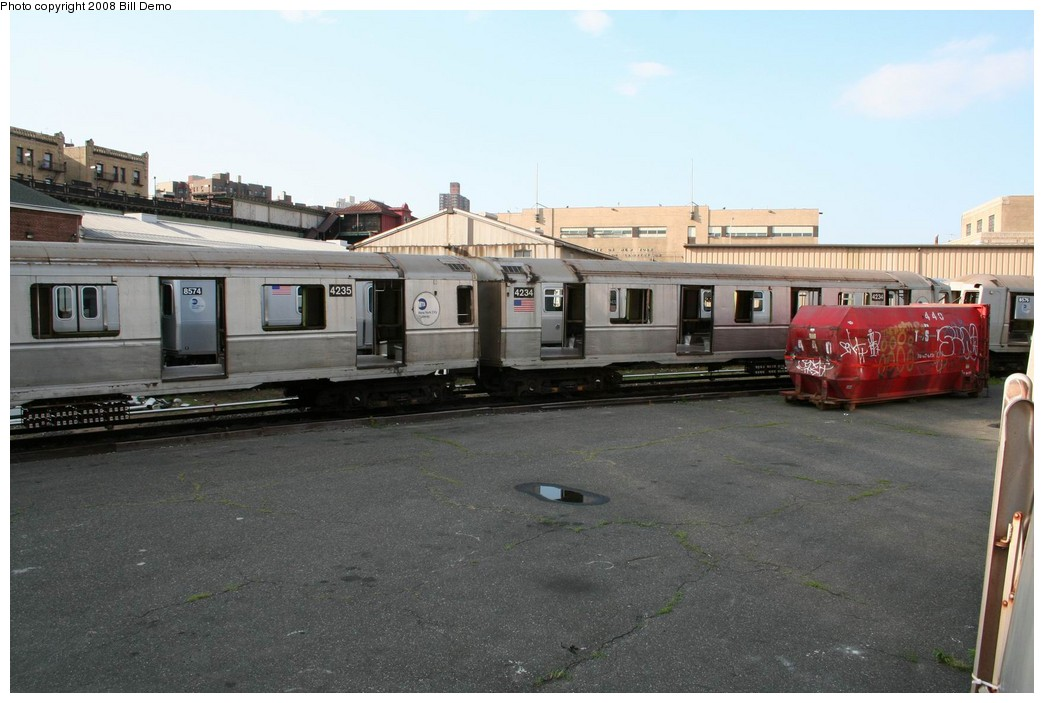 (175k, 1044x703)<br><b>Country:</b> United States<br><b>City:</b> New York<br><b>System:</b> New York City Transit<br><b>Location:</b> 207th Street Yard<br><b>Car:</b> R-40 (St. Louis, 1968)  4234 <br><b>Photo by:</b> Pete Monty<br><b>Collection of:</b> Bill Demo<br><b>Date:</b> 6/16/2008<br><b>Notes:</b> Being stripped for scrapping.<br><b>Viewed (this week/total):</b> 0 / 1297