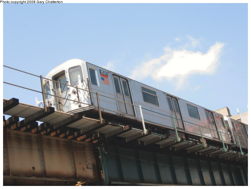 (98k, 820x620)<br><b>Country:</b> United States<br><b>City:</b> New York<br><b>System:</b> New York City Transit<br><b>Line:</b> IRT Woodlawn Line<br><b>Location:</b> 183rd Street <br><b>Route:</b> 4<br><b>Car:</b> R-62 (Kawasaki, 1983-1985)  1531 <br><b>Photo by:</b> Gary Chatterton<br><b>Date:</b> 5/4/2008<br><b>Viewed (this week/total):</b> 0 / 1054