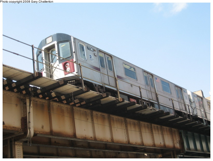 (108k, 820x620)<br><b>Country:</b> United States<br><b>City:</b> New York<br><b>System:</b> New York City Transit<br><b>Line:</b> IRT Woodlawn Line<br><b>Location:</b> 183rd Street <br><b>Route:</b> 4<br><b>Car:</b> R-142A (Supplemental Order, Kawasaki, 2003-2004)  7736 <br><b>Photo by:</b> Gary Chatterton<br><b>Date:</b> 5/4/2008<br><b>Viewed (this week/total):</b> 1 / 1595