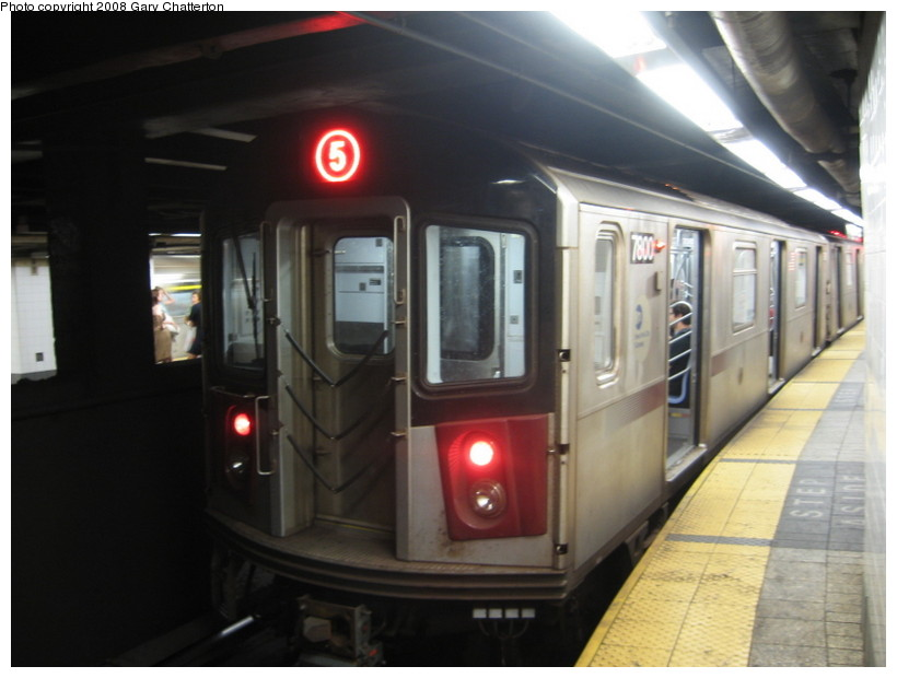 (100k, 820x620)<br><b>Country:</b> United States<br><b>City:</b> New York<br><b>System:</b> New York City Transit<br><b>Line:</b> IRT East Side Line<br><b>Location:</b> Grand Central <br><b>Route:</b> 5<br><b>Car:</b> R-142A (Supplemental Order, Kawasaki, 2003-2004)  7800 <br><b>Photo by:</b> Gary Chatterton<br><b>Date:</b> 6/29/2008<br><b>Viewed (this week/total):</b> 2 / 2560