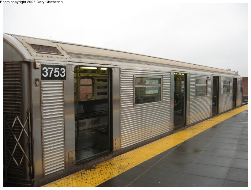 (116k, 820x620)<br><b>Country:</b> United States<br><b>City:</b> New York<br><b>System:</b> New York City Transit<br><b>Location:</b> Coney Island/Stillwell Avenue<br><b>Route:</b> F<br><b>Car:</b> R-32 (Budd, 1964)  3753 <br><b>Photo by:</b> Gary Chatterton<br><b>Date:</b> 11/26/2007<br><b>Viewed (this week/total):</b> 2 / 1197