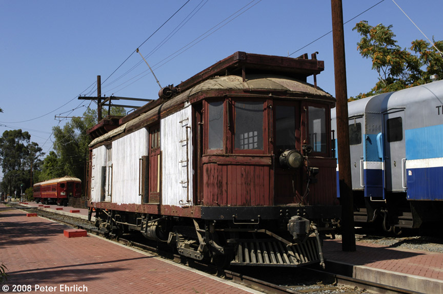 (189k, 864x574)<br><b>Country:</b> United States<br><b>City:</b> Perris, CA<br><b>System:</b> Orange Empire Railway Museum <br><b>Car:</b>  00157 <br><b>Photo by:</b> Peter Ehrlich<br><b>Date:</b> 6/14/2008<br><b>Notes:</b> Line car 00157 at Pinacate Station.<br><b>Viewed (this week/total):</b> 1 / 1031