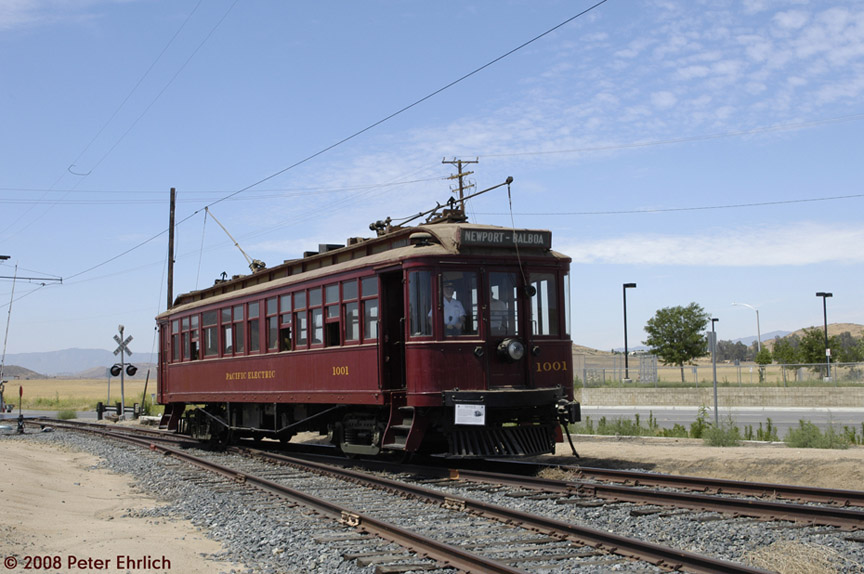 (170k, 864x574)<br><b>Country:</b> United States<br><b>City:</b> Perris, CA<br><b>System:</b> Orange Empire Railway Museum <br><b>Car:</b>  1001 <br><b>Photo by:</b> Peter Ehrlich<br><b>Date:</b> 6/15/2008<br><b>Notes:</b> At Alpine Drive northbound.<br><b>Viewed (this week/total):</b> 0 / 684