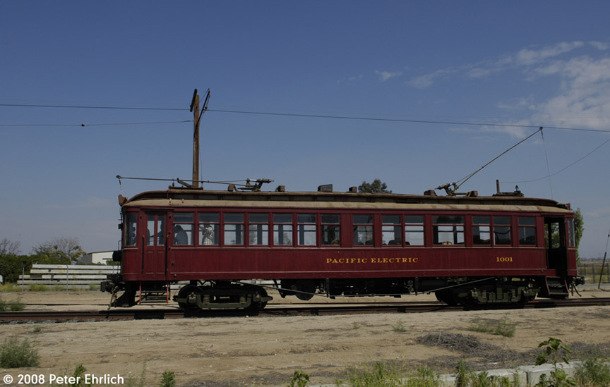 (136k, 864x549)<br><b>Country:</b> United States<br><b>City:</b> Perris, CA<br><b>System:</b> Orange Empire Railway Museum <br><b>Car:</b>  1001 <br><b>Photo by:</b> Peter Ehrlich<br><b>Date:</b> 6/14/2008<br><b>Notes:</b> Approaching Pinacate Station.<br><b>Viewed (this week/total):</b> 1 / 1296